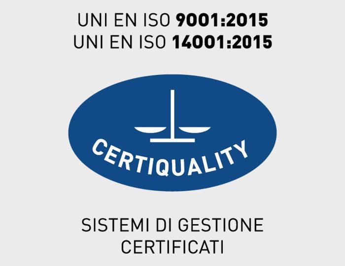 La Commissione Tecnica di Certiquality, ha rilasciato nel 2018 a Metlac Group le seguenti certificazioni